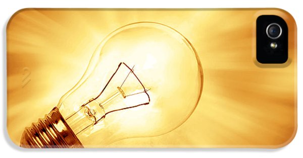 Filament (lightbulb) iPhone 5 Cases - Light bulb  iPhone 5 Case by Les Cunliffe