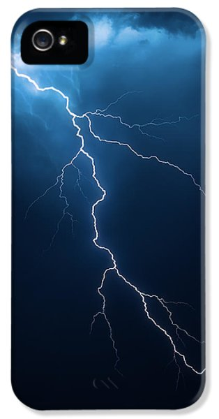 Weather iPhone 5 Cases - Lightning with cloudscape iPhone 5 Case by Johan Swanepoel