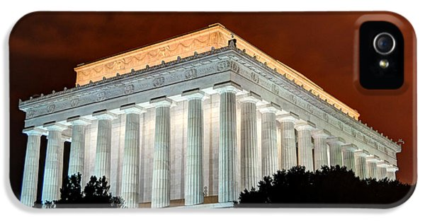 District Columbia iPhone 5 Cases - Lincoln Memorial at Night - Washington D.C. iPhone 5 Case by Gary Whitton