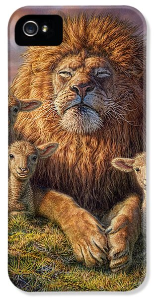 Glowing iPhone 5 Cases - Lion and Lambs iPhone 5 Case by Phil Jaeger