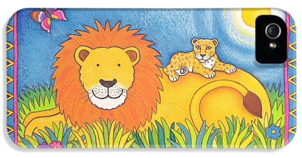 Mane iPhone 5 Cases - Lion In The Sun, 1997 Wc And Pastel On Paper iPhone 5 Case by Cathy Baxter