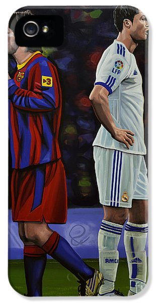 Idols iPhone 5 Cases - Lionel Messi and Cristiano Ronaldo iPhone 5 Case by Paul  Meijering