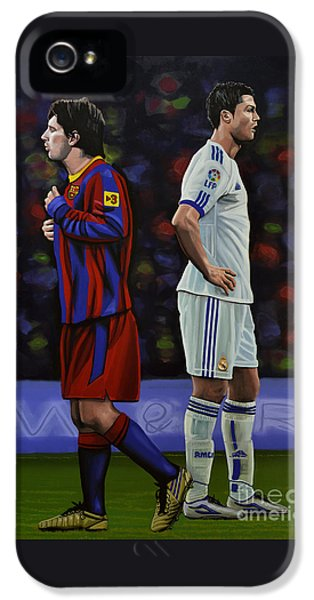 Famous People iPhone 5 Cases - Lionel Messi and Cristiano Ronaldo iPhone 5 Case by Paul Meijering