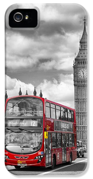London - Houses Of Parliament And Red Bus IPhone 5 / 5s Case by Melanie Viola