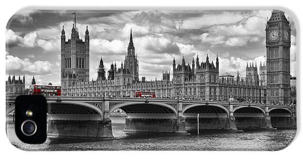 Clock iPhone 5 Cases - LONDON - Houses of Parliament and Red Buses iPhone 5 Case by Melanie Viola