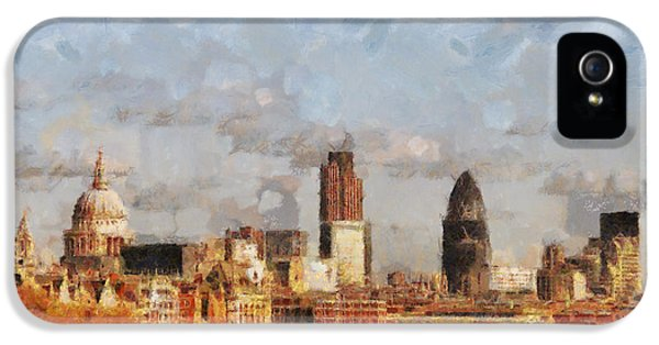 Oil House iPhone 5 Cases - London Skyline from the river  iPhone 5 Case by Pixel Chimp