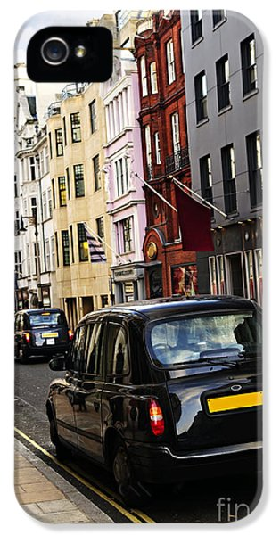 Taxi iPhone 5 Cases - London taxi on shopping street iPhone 5 Case by Elena Elisseeva