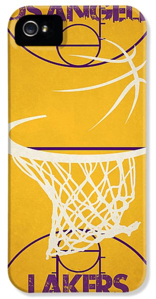 Lakers iPhone 5 Cases - Los Angeles Lakers Court iPhone 5 Case by Joe Hamilton