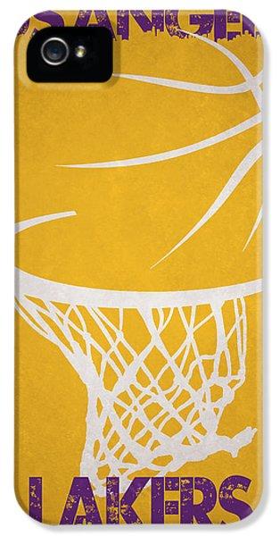 Lakers iPhone 5 Cases - Los Angeles Lakers Hoop iPhone 5 Case by Joe Hamilton