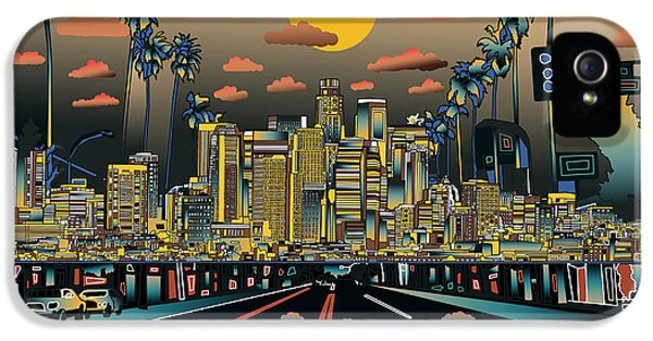 Los Angeles Skyline Abstract 2 IPhone 5 / 5s Case by Bekim Art