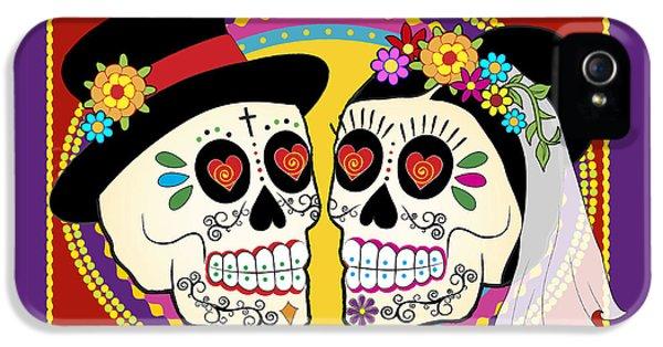 Mexican iPhone 5 Cases - Los Novios Sugar Skulls iPhone 5 Case by Tammy Wetzel