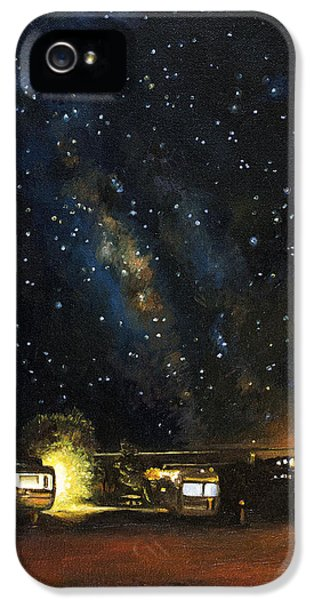 Trailer iPhone 5 Cases - Los Rancheros RV Park iPhone 5 Case by Leah Saulnier The Painting Maniac