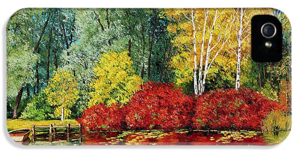 Jeans iPhone 5 Cases - Autumn Pond iPhone 5 Case by Jean-Marc Janiaczyk