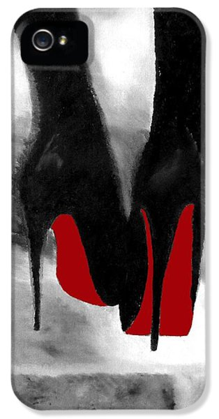 Black iPhone 5 Cases - Louboutin At Midnight Black and White iPhone 5 Case by Rebecca Jenkins