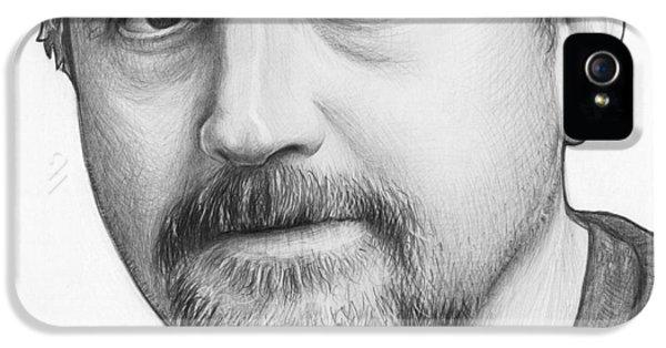 Pencil Drawing iPhone 5 Cases - Louis CK Portrait iPhone 5 Case by Olga Shvartsur