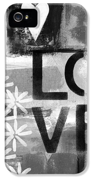 Grunge Style iPhone 5 Cases - Love- abstract painting iPhone 5 Case by Linda Woods