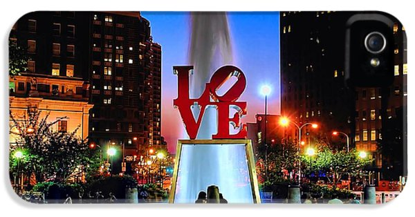Outdoors iPhone 5 Cases - LOVE at Night iPhone 5 Case by Nick Zelinsky