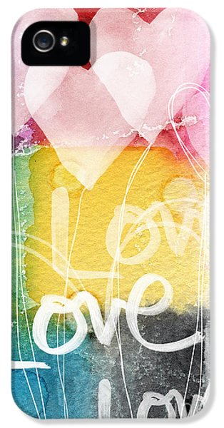 Balloon iPhone 5 Cases - Love Hearts iPhone 5 Case by Linda Woods
