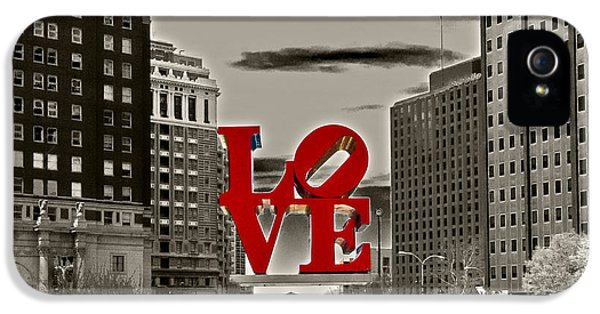 Philadelphia iPhone 5 Cases - Love Sculpture - Philadelphia - BW iPhone 5 Case by Lou Ford
