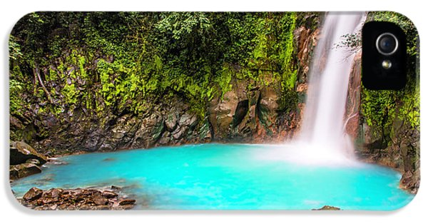 Turquoise iPhone 5 Cases - Lower Rio Celeste Waterfall iPhone 5 Case by Andres Leon