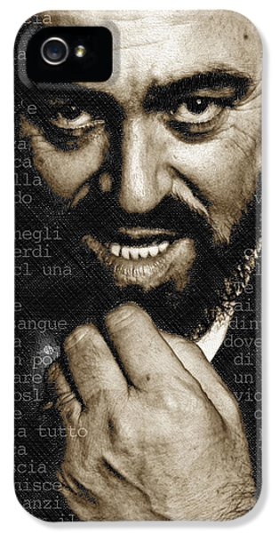 Tony Soprano iPhone 5 Cases - Luciano Pavarotti Vertical iPhone 5 Case by Tony Rubino