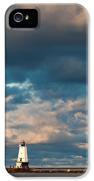 Buildings iPhone 5 Cases - Ludington North Breakwater Lighthouse at Sunrise iPhone 5 Case by Sebastian Musial