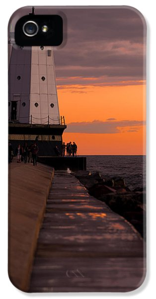Coast iPhone 5 Cases - Ludington Pier and Lighthouse iPhone 5 Case by Sebastian Musial
