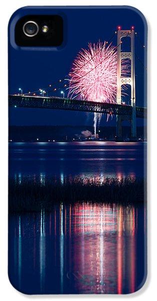 Firework iPhone 5 Cases - Mackinac Bridge Fireworks iPhone 5 Case by Steve Gadomski