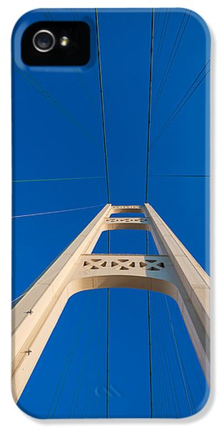 Cable iPhone 5 Cases - Mackinac Bridge South Tower iPhone 5 Case by Steve Gadomski