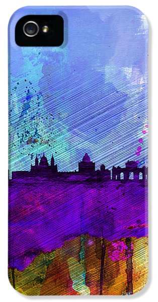 Spain iPhone 5 Cases - Madrid Watercolor Skyline iPhone 5 Case by Naxart Studio