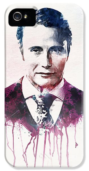 Danish iPhone 5 Cases - Mads Mikkelsen watercolor iPhone 5 Case by Marian Voicu