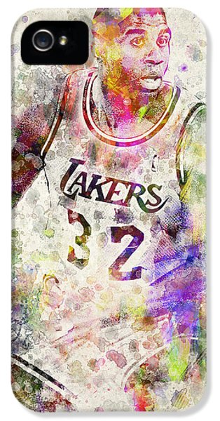 Nba iPhone 5 Cases - Magic Johnson iPhone 5 Case by Aged Pixel