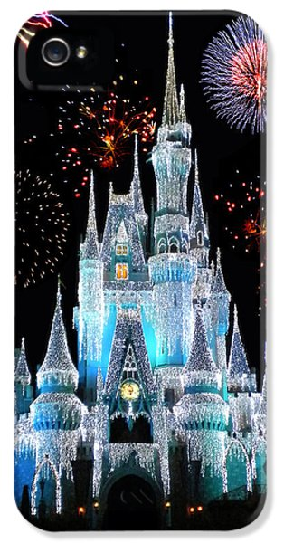 Squares iPhone 5 Cases - Magic Kingdom Castle In Frosty Light Blue with Fireworks 06 iPhone 5 Case by Thomas Woolworth