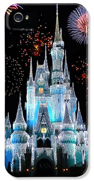 Square iPhone 5 Cases - Magic Kingdom Castle In Frosty Light Blue with Fireworks 06 iPhone 5 Case by Thomas Woolworth