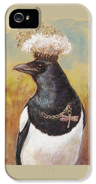 Magpie In A Milkweed Crown IPhone 5 / 5s Case by Tracie Thompson