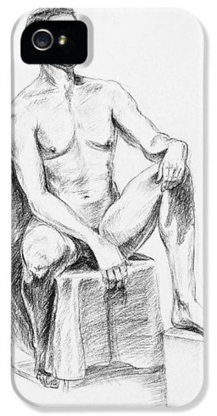Proud iPhone 5 Cases - Male Model Seated Charcoal Study iPhone 5 Case by Irina Sztukowski