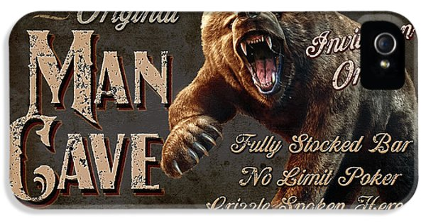 Scary iPhone 5 Cases - Man Cave Grizzly iPhone 5 Case by JQ Licensing