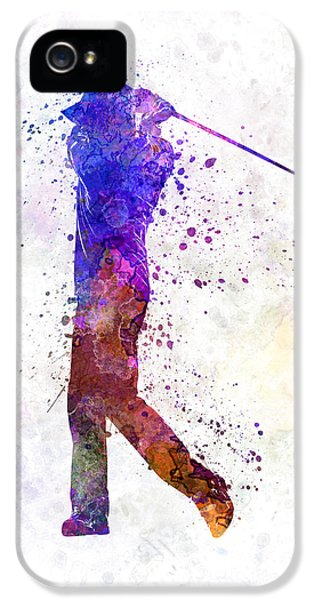 Cut-out iPhone 5 Cases - Man Golfer Swing Silhouette iPhone 5 Case by Pablo Romero