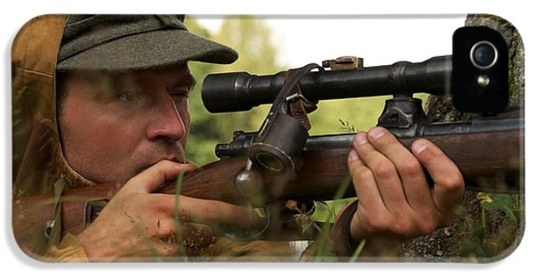 Ammunition iPhone 5 Cases - Man In Form Of Nazi Sniper iPhone 5 Case by Aleksey Tugolukov
