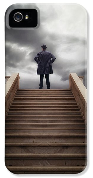 Thriller iPhone 5 Cases - Man On Stairs iPhone 5 Case by Joana Kruse