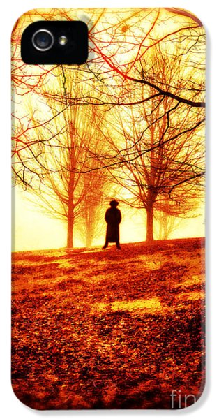 Thriller iPhone 5 Cases - Man standing in front of a blazing forest fire iPhone 5 Case by Edward Fielding