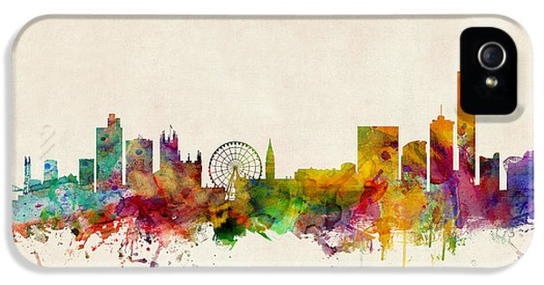 England iPhone 5 Cases - Manchester England Skyline iPhone 5 Case by Michael Tompsett