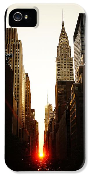 Nyc iPhone 5 Cases - Manhattanhenge Sunset and the Chrysler Building  iPhone 5 Case by Vivienne Gucwa