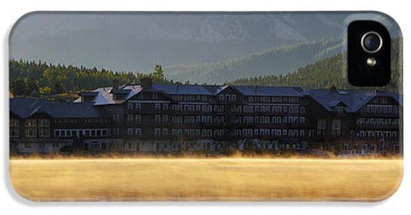 Many iPhone 5 Cases - Many Glacier Hotel Sunrise Panorama iPhone 5 Case by Mark Kiver