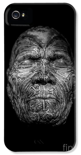 Mask iPhone 5 Cases - Maori Tatoo Man Face Mask iPhone 5 Case by Edward Fielding