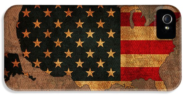 United States Of America iPhone 5 Cases - Map of America United States USA With Flag Art on Distressed Worn Canvas iPhone 5 Case by Design Turnpike