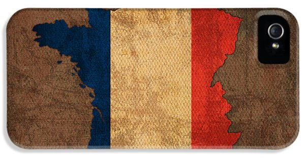 Flags iPhone 5 Cases - Map of France With Flag Art on Distressed Worn Canvas iPhone 5 Case by Design Turnpike