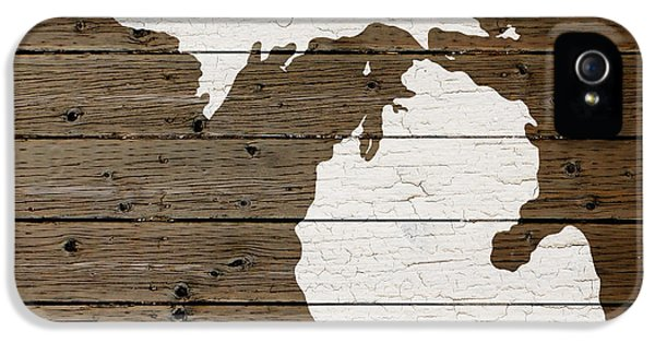 Map Of Michigan State Outline White Distressed Paint On Reclaimed Wood Planks IPhone 5 / 5s Case by Design Turnpike