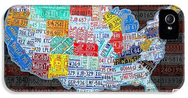 Alabama iPhone 5 Cases - Map of the United States in Vintage License Plates on American Flag iPhone 5 Case by Design Turnpike