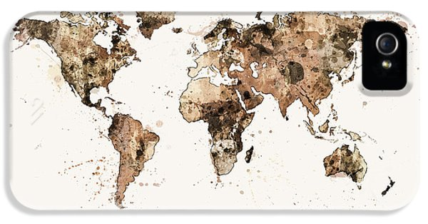 Atlas iPhone 5 Cases - Map of the World Map Sepia Watercolor iPhone 5 Case by Michael Tompsett